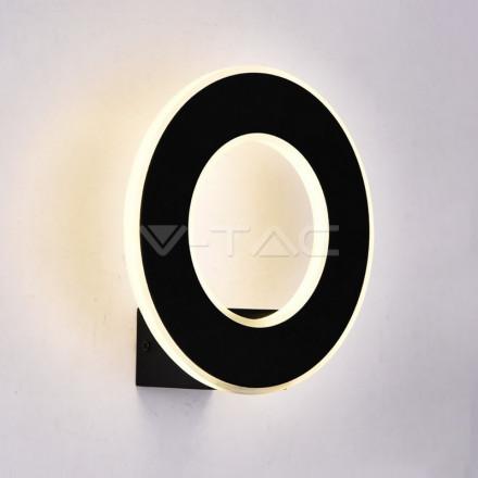 9W LED sieninis šviestuvas V-TAC, Ø210 , juodas, 3000K (šiltai balta)