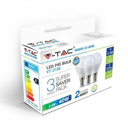 5,5Wx3vnt/pakuotėje LED lemputės V-TAC, E14, P45, 2700K(šiltai balta)