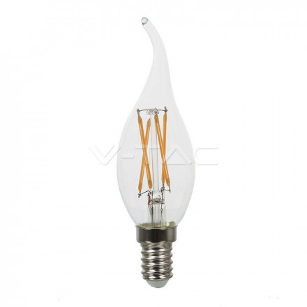 4W LED lemputė V-TAC, E14, žvakės formos, riesta, filamentinė, A++, 6400K (šaltai balta)