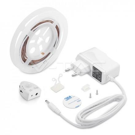 2.8W LED juosta su jutikliu pritaikyta vienvietei lovai, 30 LED/m, 3000K (šiltai balta)