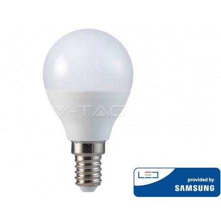 5.5W LED lemputė V-TAC, P45, E14, termoplastikas, 3000K (šiltai balta), SAMSUNG LED chip