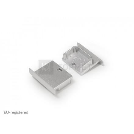 LED juostos profilio LINEA-IN20 užbaigimo elementas su skyle, sidabrinis