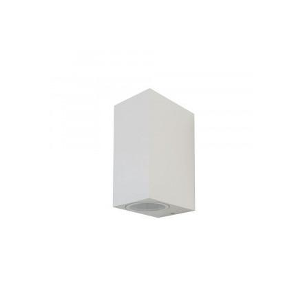 Sieninis sodo šviestuvas V-TAC, IP44, GU10, baltas, kvadratinis, šviečia dviem kryptim.