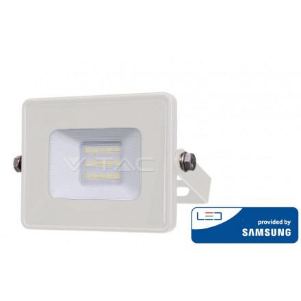 10W LED prožektorius V-TAC, 3000K (šiltai balta), baltu korpusu, SAMSUNG LED chip