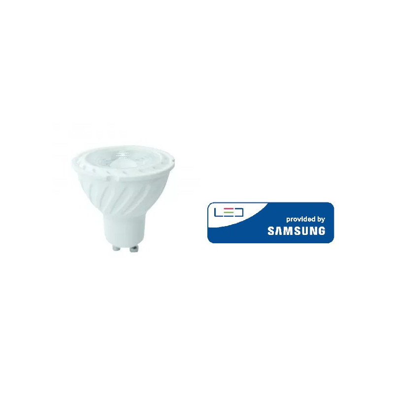 6.5W LED lemputė V-TAC, GU10, šviesos kampas 110°, 3000K(šiltai balta), SAMSUNG LED chip