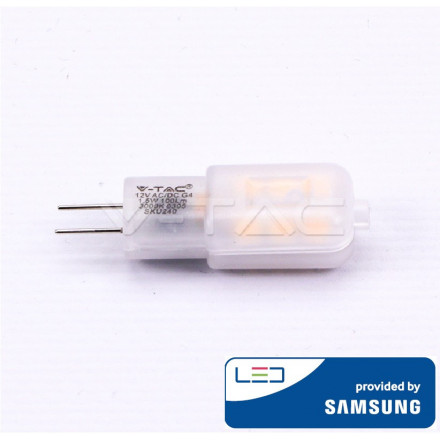 1.5W LED lemputė V-TAC, 12V, G4, 3000K (šiltai balta), SAMSUNG LED chip