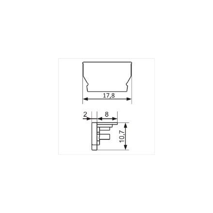 LED juostos profilio UNI12 užbaigimo elementas, sidabrinis