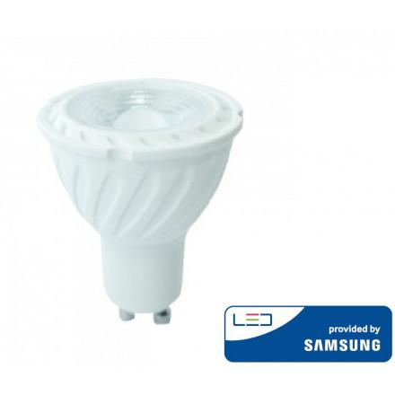 6.5W LED lemputė V-TAC, GU10, šviesos kampas 38°, 3000K(šiltai balta), SAMSUNG LED chip, dimeriuojama
