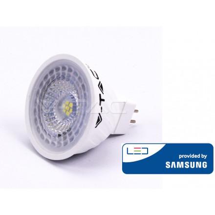 6.5W LED lemputė V-TAC GU5.3, MR16, su lęšiu, šviesos kampas 110°, 3000K(šiltai balta), SAMSUNG LED chip
