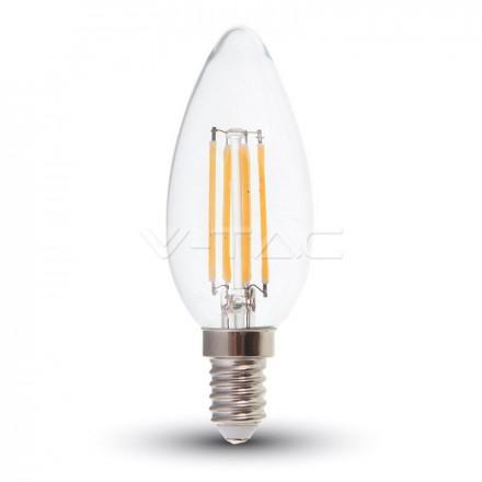 6W LED lemputė V-TAC E14 , filamentinė, skaidriu stiklu, žvakės forma, 6400K (šaltai balta)