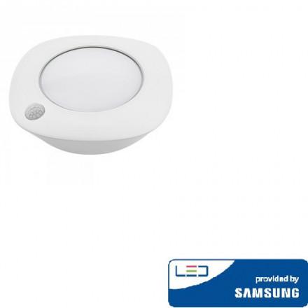 1,5W šviestuvas V-TAC, baltas, apvalus, su  judesio davikliu, 4000K(natūraliai balta), SAMSUNG LED chip
