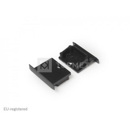 LED juostos profilio LINEA-IN20 užbaigimo elementas su skyle, juodas