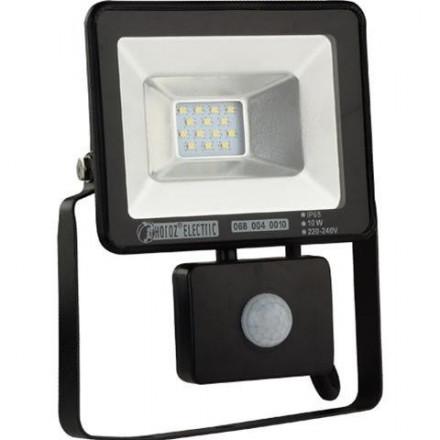 10W LED prožektorius HOROZ su judesiu davikliu, IP65, juodas, 6400K (šaltai balta)