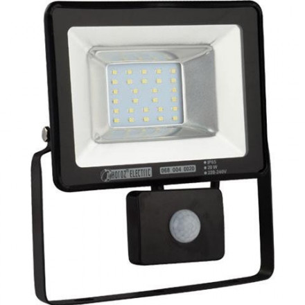 20W LED prožektorius HOROZ su judesiu davikliu, IP65, juodas, 6400K (šaltai balta)
