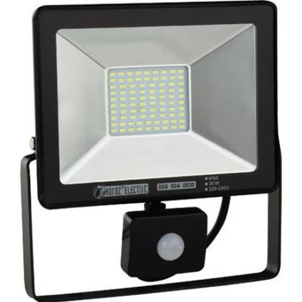 30W LED prožektorius HOROZ su judesiu davikliu, IP65, juodas, 6400K (šaltai balta)