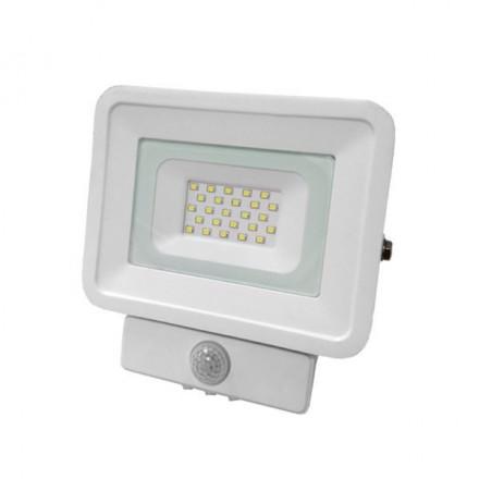 20W LED Prožektorius OPTONICA Su judesio davikliu (SMD LED), 4500K (dienos šviesa), baltu korpusu