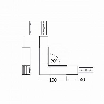 LED juostos profilio VARIO30-02 kampinis sujungimas 90 laipsnių, baltas