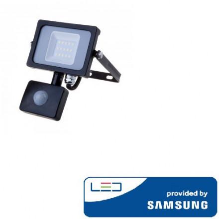 10W LED prožektorius V-TAC, 3000K (šiltai balta), su judesio davikliu, juodu korpusu, SAMSUNG LED chip