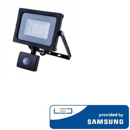 20W LED prožektorius V-TAC, 3000K (šiltai balta),su judesio davikliu, juodu korpusu, SAMSUNG LED chip