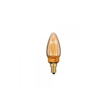 2W LED lemputė V-TAC, E14, filamentinė, žvakės formos, gintariniu stiklu, 1800K (šiltai balta)