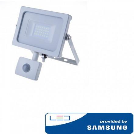 20W LED prožektorius V-TAC, 4000K (natūraliai balta),su judesio davikliu, baltu korpusu, SAMSUNG LED chip