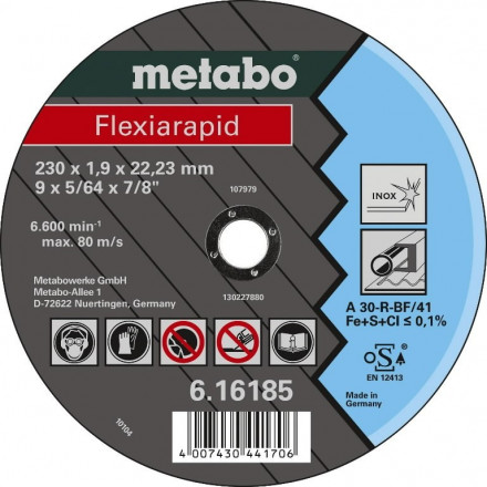 Diskas pjovimo metalui 125x1,6x22,2  INOX, Metabo