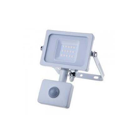 10W LED prožektorius V-TAC, 3000K (šiltai balta), su judesio davikliu, baltu korpusu, SAMSUNG LED chip