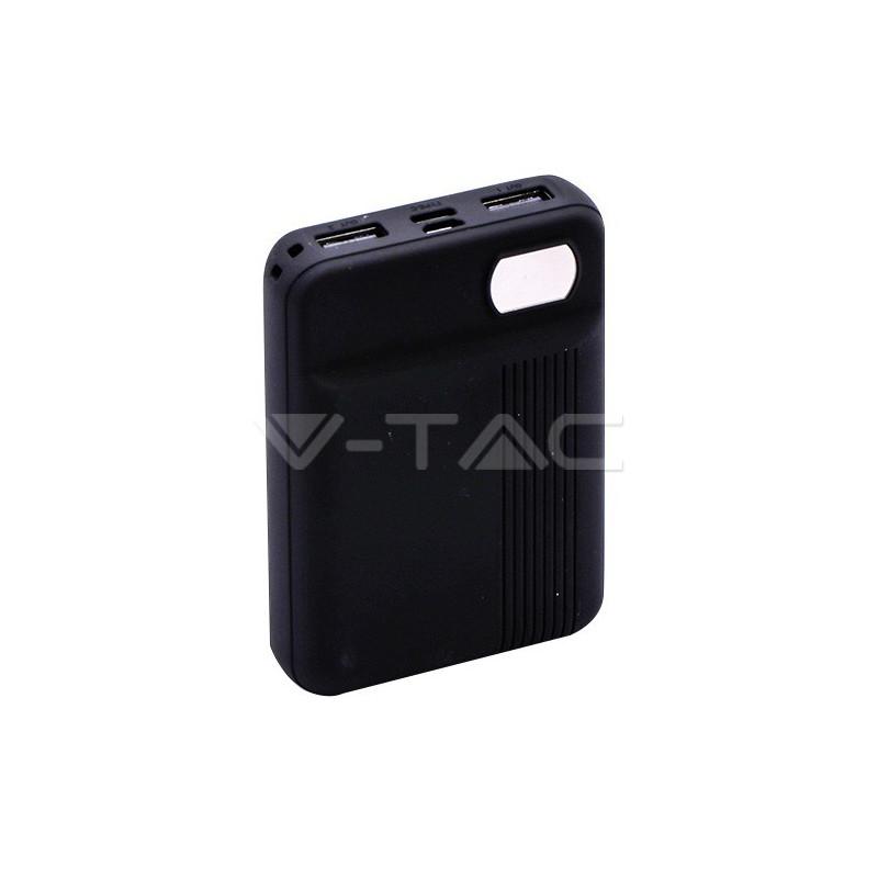 Išorinė baterija (power bank) V-TAC, juodas, 10000mAh. Išėjimai: 1xMicroUSB, 1xUSB TypeC
