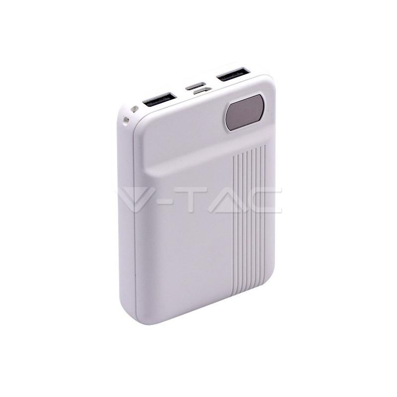 Išorinė baterija (power bank) V-TAC, baltas, 10000mAh. Išėjimai: 1xMicroUSB, 1xUSB TypeC