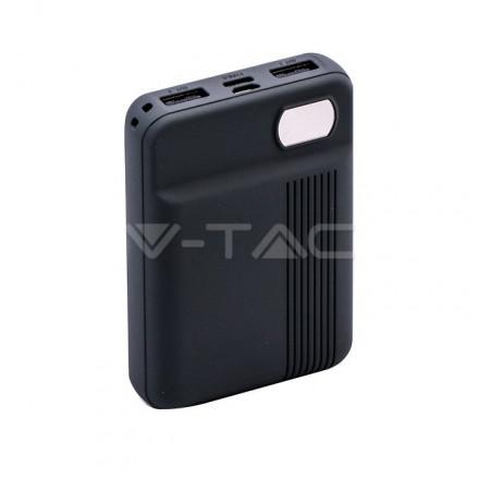 Išorinė baterija (power bank) V-TAC, pilkas, 10000mAh. Išėjimai: 1xMicroUSB, 1xUSB TypeC