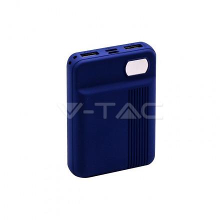 Išorinė baterija (power bank) V-TAC, tamsiai mėlynas, 10000mAh. Išėjimai: 1xMicroUSB, 1xUSB TypeC