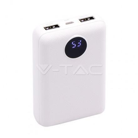 Išorinė baterija (power bank) V-TAC, baltas su ekranu, 10000mAh