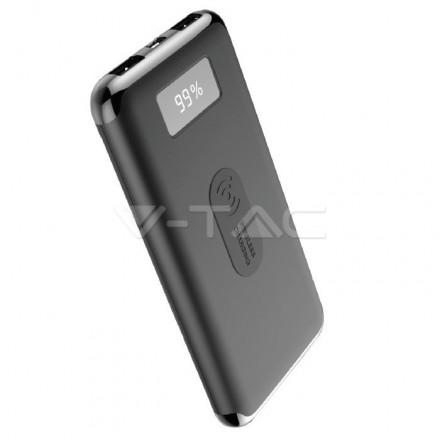 Išorinė baterija (power bank) V-TAC, 10000mAh , juodas su ekranu, su bevelio įkrovimo funkcija. 1xUSB Type C išėjimas.