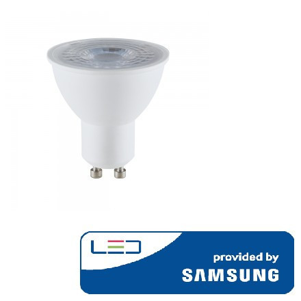 8W LED lemputė V-TAC, GU10, šviesos kampas 110°, 3000K(šiltai balta), SAMSUNG LED chip