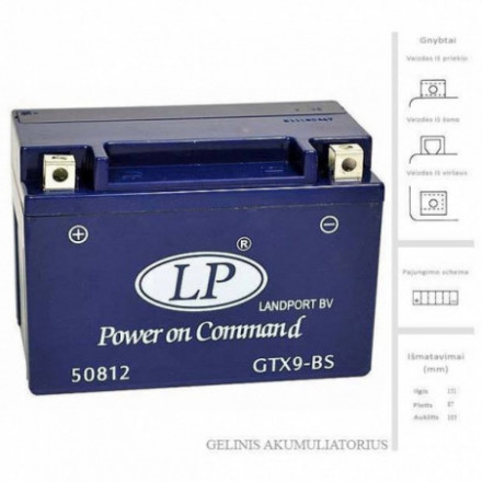 LANDPORT  Akumuliatorius 9 Ah 12V GTX9-BS
