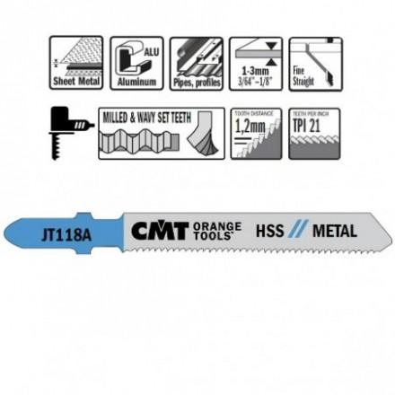 5 JIG SAW BLADES HSS 76x1.2x21TPI (METAL/STRAIGHT/FINE) CMT