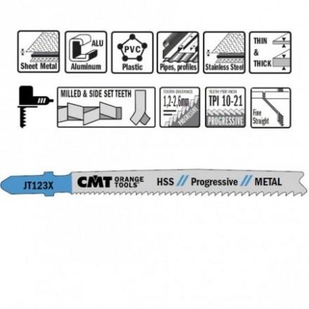 5 JIG SAW BLADES HSS 100x1.2-2.6x21-10TPI(METAL/STRAIGHT/FIN CMT
