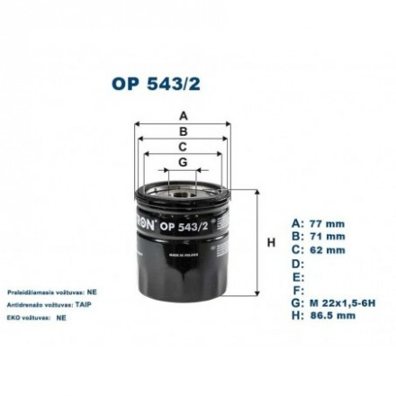 FILTRON Tepalo filtras OP543/2