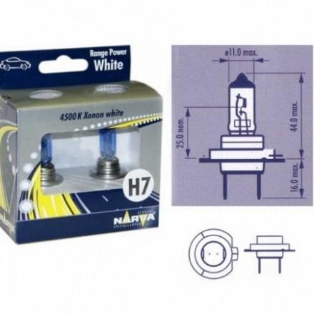 NARVA  Lempučių komplektas 55W 12V PX26d H7 Range Power White+ 48607