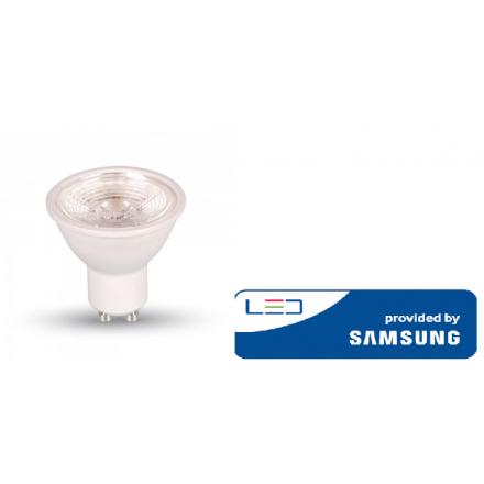 5W LED lemputė V-TAC, GU10, plastikinė, 3000K(šiltai balta), SAMSUNG LED chip