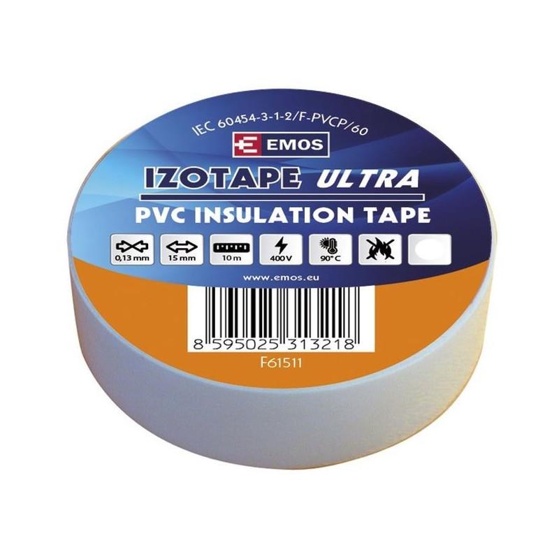PVC. izoliacinė juosta IZOTAPE ULTRA 15mm x 10m balta